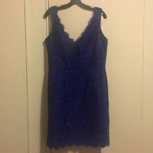 Beautiful blue Monique Lhuillier party dress